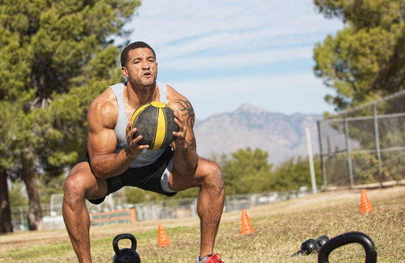 workouts for basketball players medicine ball squat to press