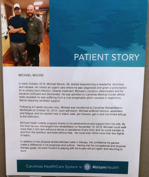 Michael A Moore Patient Story Rehab Plaque